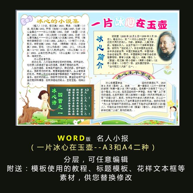 平面设计 其他 小报|手抄报 > word电子小报模板名人小报冰心  找相似