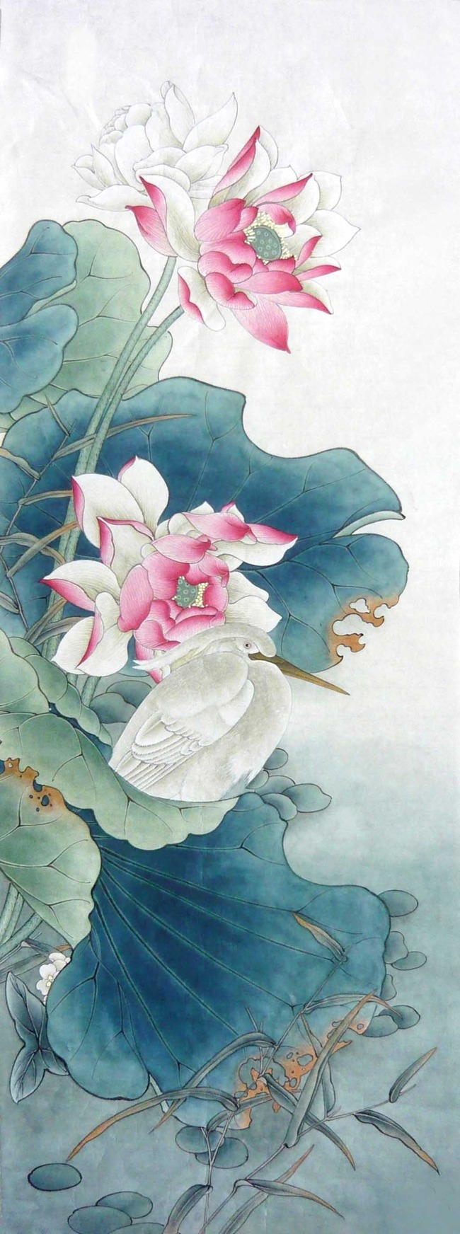 荷花莲花工笔花卉玄关背景墙