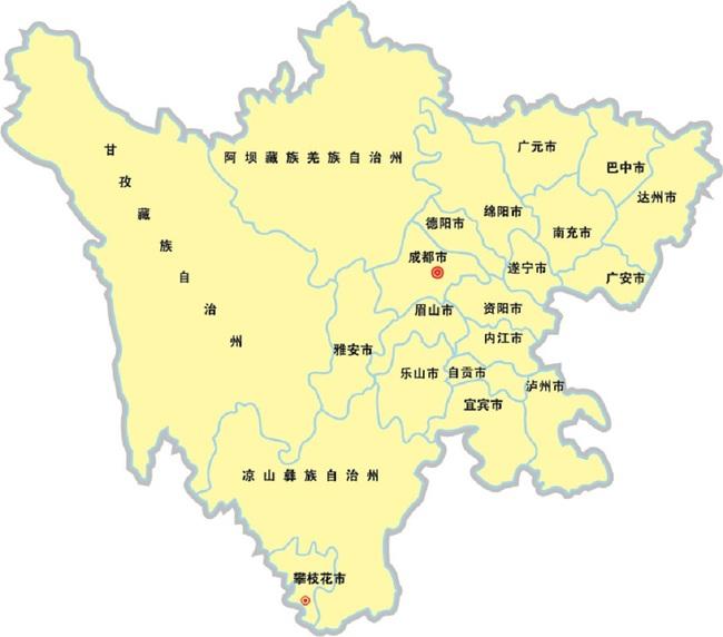 四川地图矢量模板下载