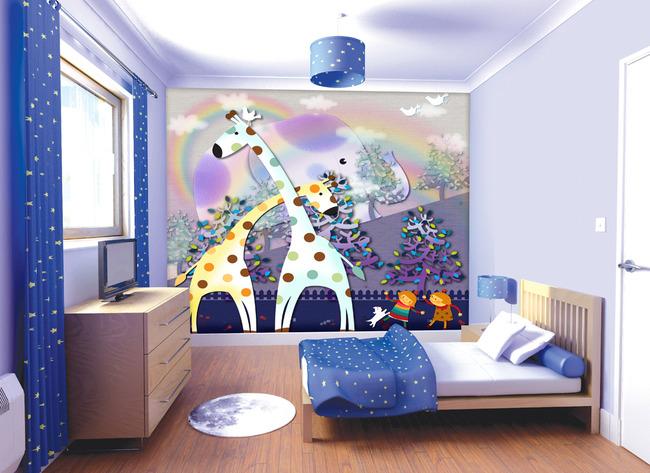 3d长颈鹿时尚卡通电视背景墙