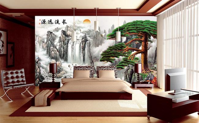 源远流长迎客松仙鹤中式电视背景墙