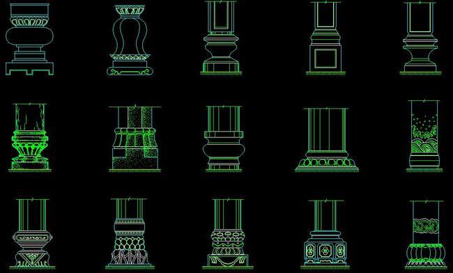 cad欧式柱头罗马柱节点大样图雕花浮雕图片