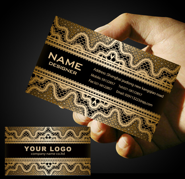 金色欧式纹理背景名片名片模板设计