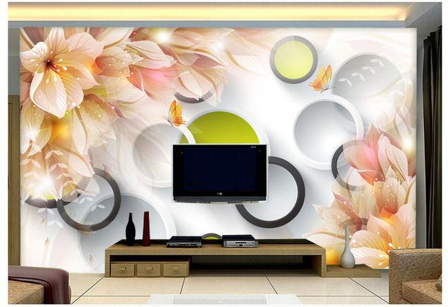 3d阴影圆圈梦幻花卉电视背景墙