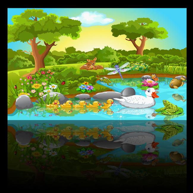 3d卡通壁画池塘小鸭儿童房壁纸壁画