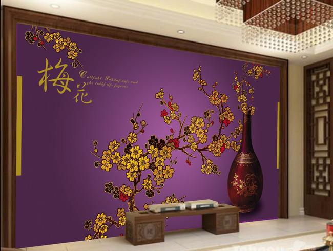 刺绣新中式贵族紫背景墙装饰画