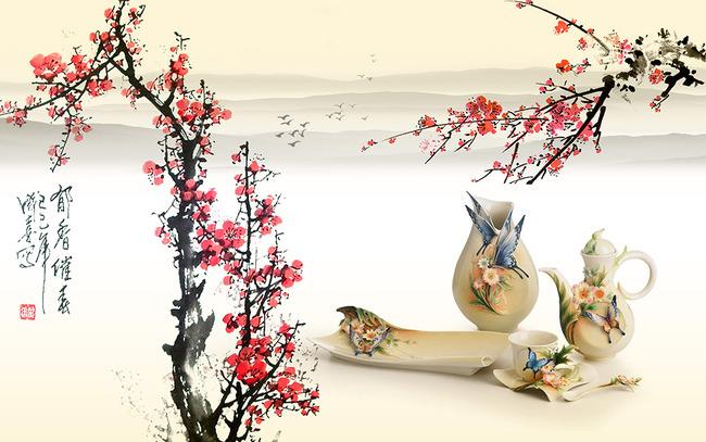 梅花中式画贴图图片