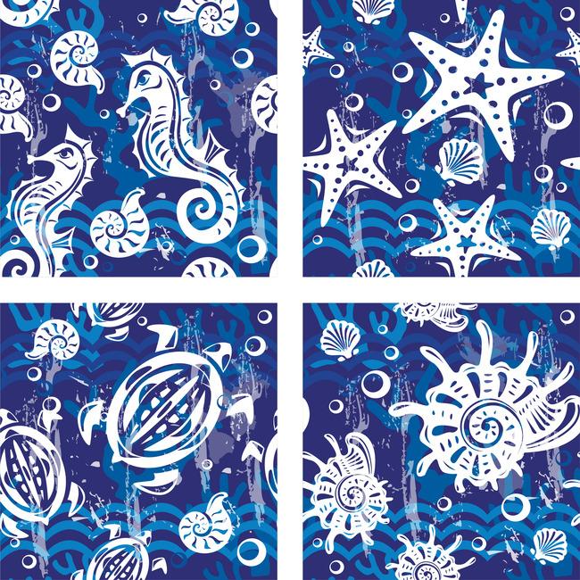 海洋卡通图案背景蓝色海洋花纹背景