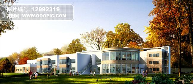 室外3d学校,幼儿园模型