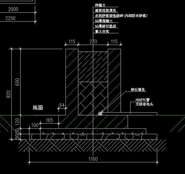 cad围墙栏杆建筑庭院施工图节点剖面图图片