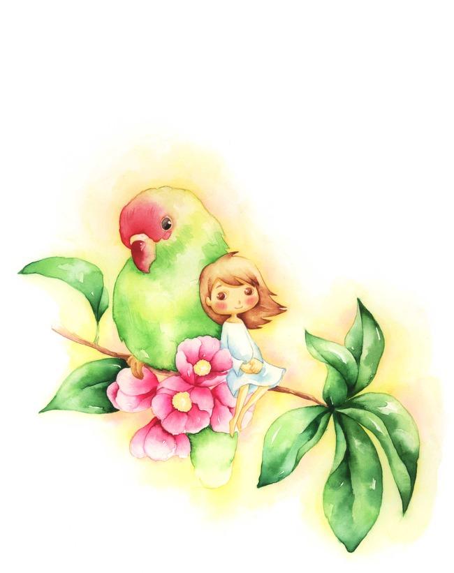 红头绿鹦鹉女孩手绘素描作品