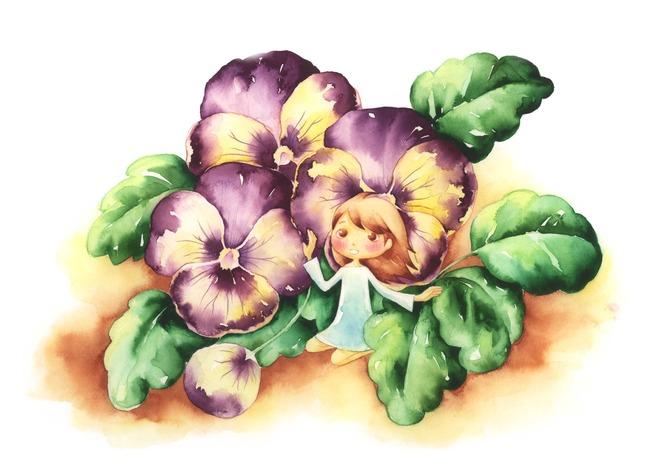 紫色花瓣手绘素描作品图片下载拇指姑娘 拇指女孩 花紫色花瓣女孩姑娘