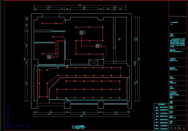 室内设计cad图库 工装施工cad图纸 > cad蛋糕店施工图平面立面图水电