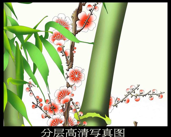 手绘竹子梅花背景墙(写真图 刻绘图)
