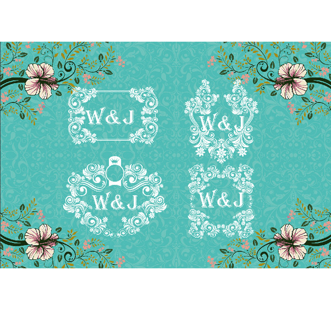 森系婚礼 碎花花卉欧式花纹边框婚礼素材 森系logo 蔓藤 婚礼logo
