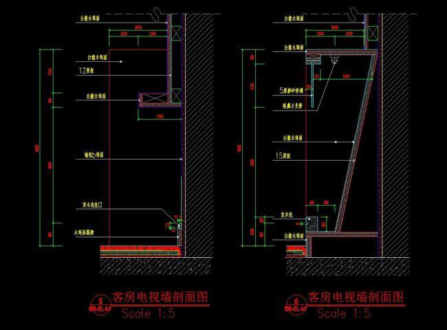 cad宾馆标准间施工图电视墙节点剖面图