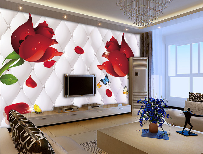 玫瑰软包硬包蝴蝶3d电视背景墙