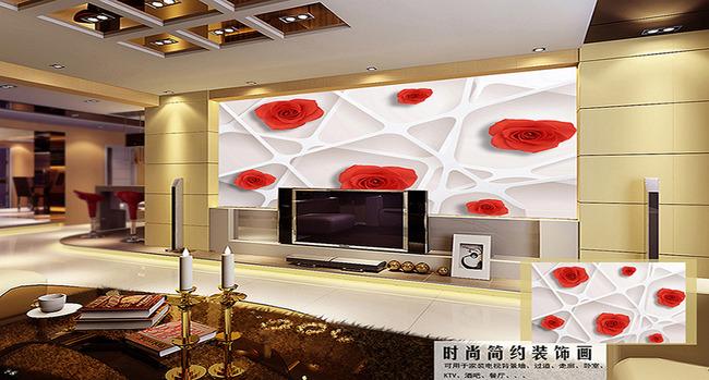 壁纸 墙纸 墙贴 家装 工装 装修效果图 玫瑰 立体 3d 玄关 背景墙