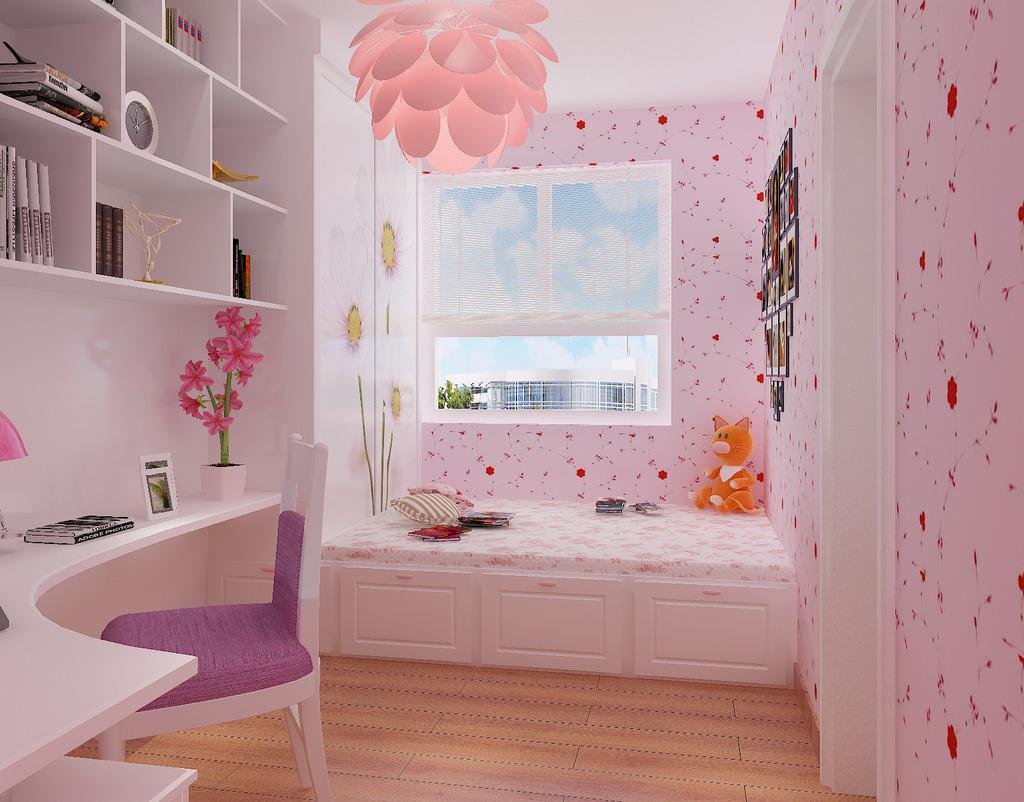 榻榻米儿童房女孩房3d模型灯光材质齐全