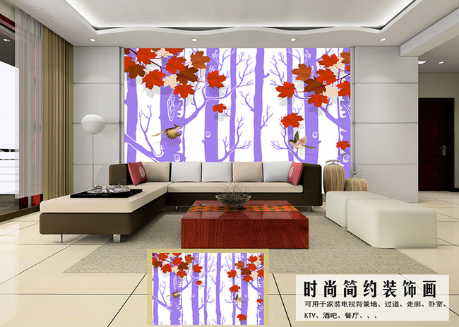 3d花鸟红叶树影电视背景墙