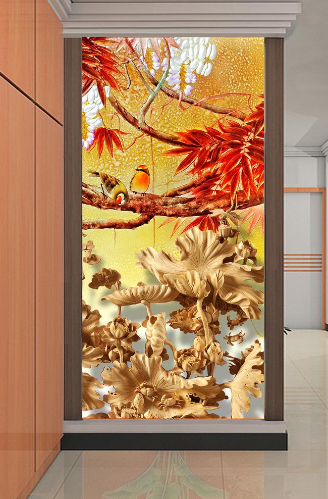 背景墙|装饰画 玄关 木雕玄关 > 木雕立体效果彩雕晶雕荷花图玄关  下