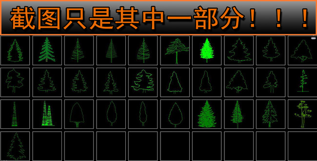 cad园林景观树木立面图库
