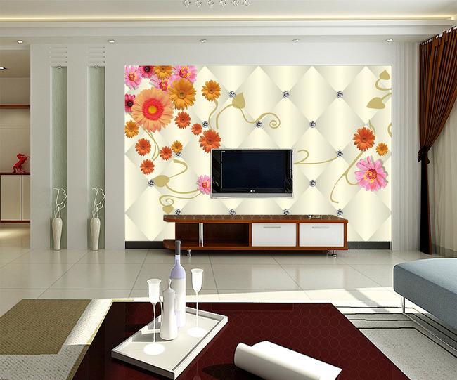葵花硬包钻石水晶3d电视背景墙