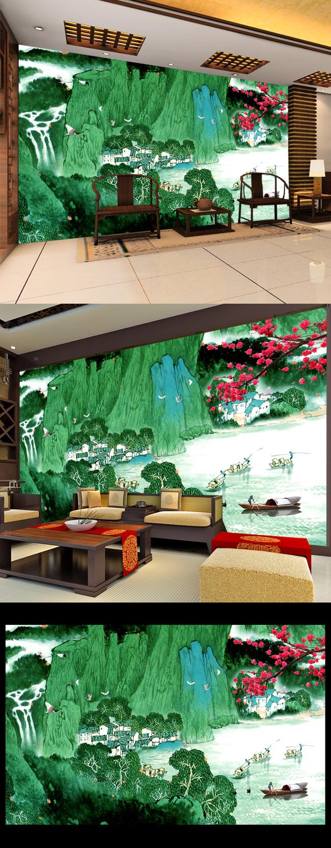 电视背景墙效果图 客厅电视背景墙 玄关背景墙 船 仙鹤 水墨山 大好