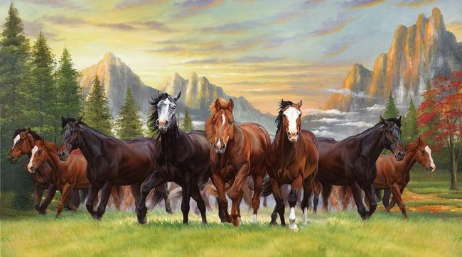 高清图-油画马