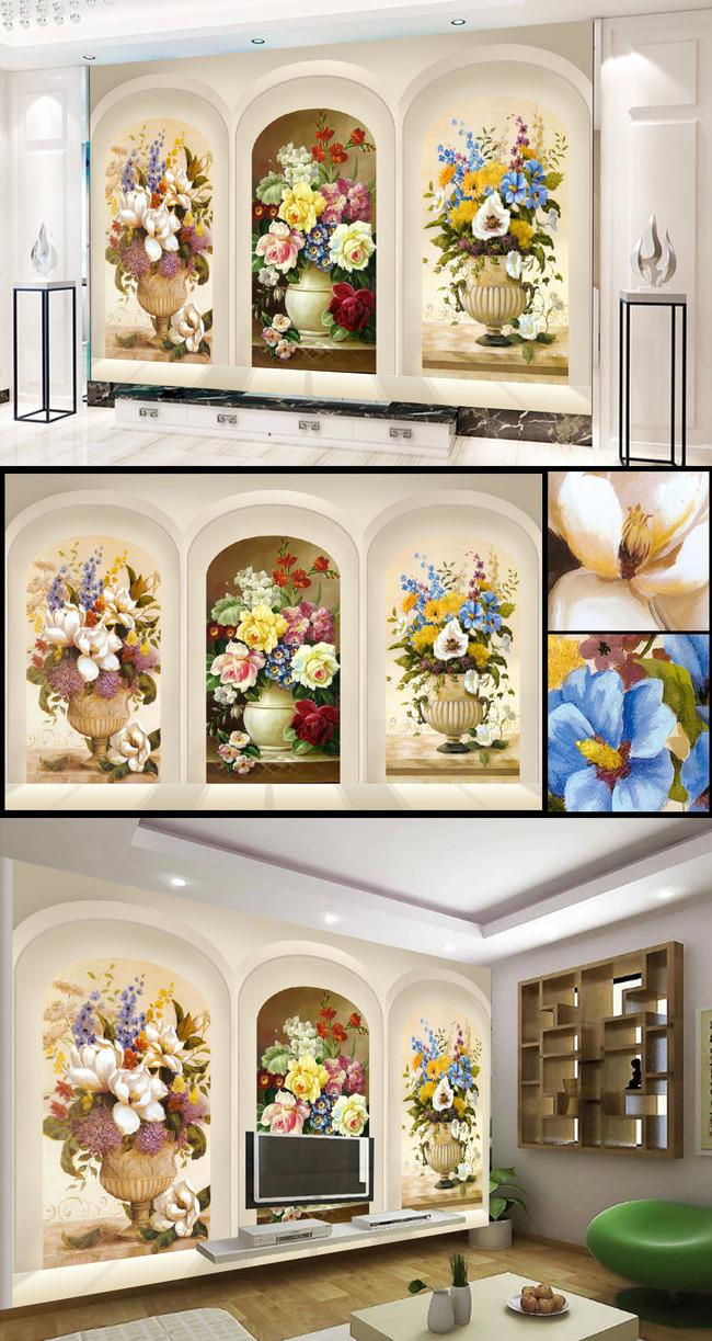 壁画 家装画 挂画 墙画 装饰画 手绘画 花卉 玫瑰 百合 蓝色 白色