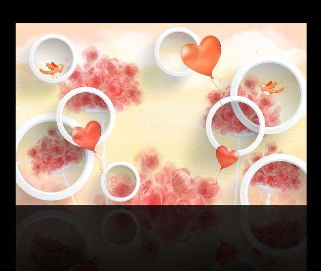 浪漫 3d 立体 花朵 白花 绿藤 绿叶 叶子 铃兰 百合 绿色 圆圈 气球