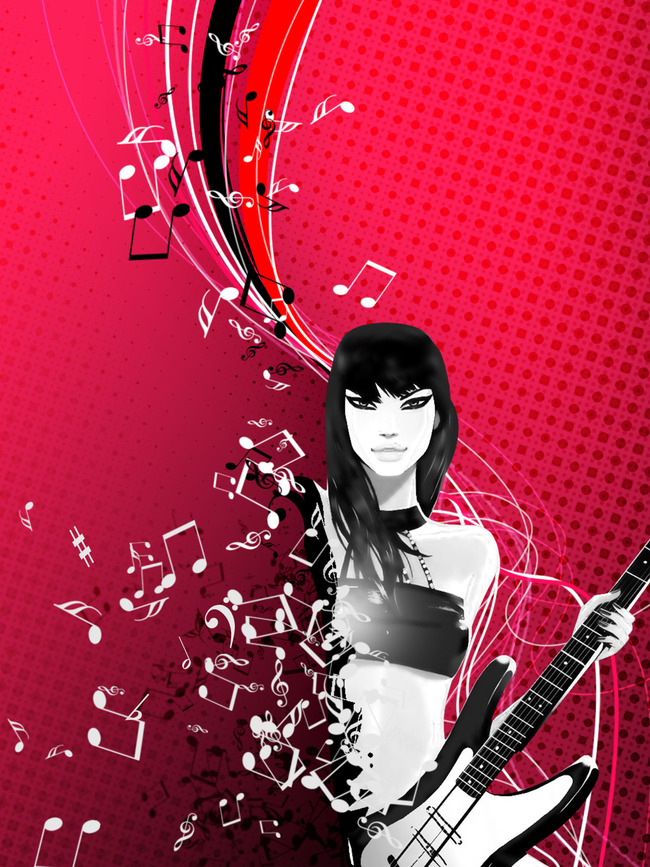 卡通 吉他 女歌手 女吉他手