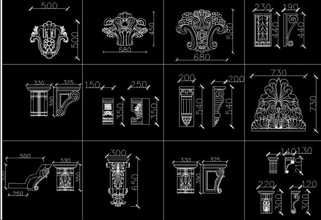 cad欧式图库大全罗马柱雕花柱头浮雕