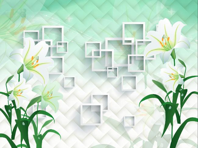 百合花3d立体框电视背景墙