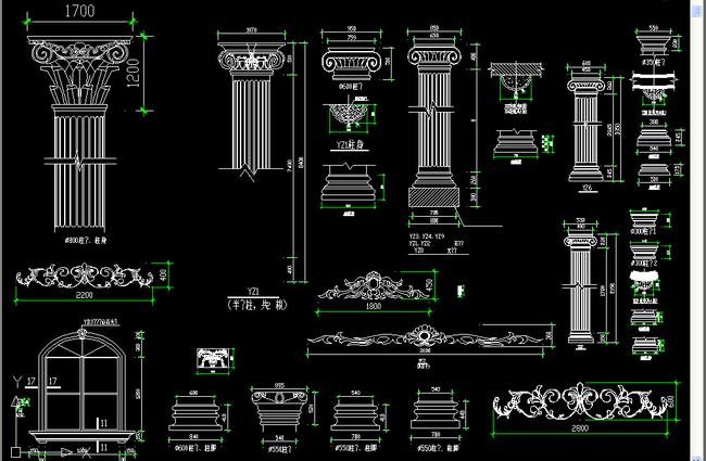 家具素材罗马柱雕花cad图库下载