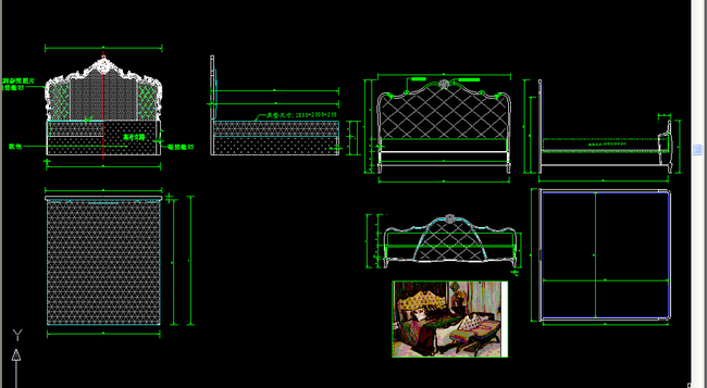 欧式床cad图集模板下载(图片编号:13041134)