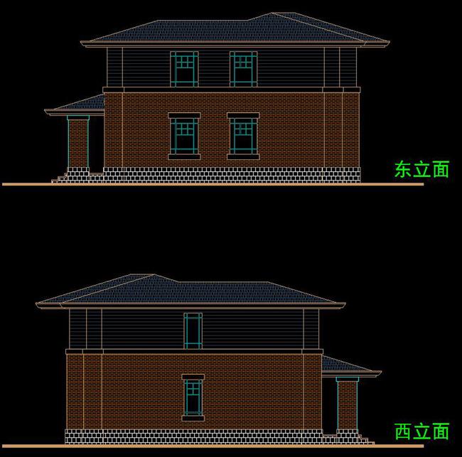 cad现代欧式别墅外立面施工图屋顶平面图