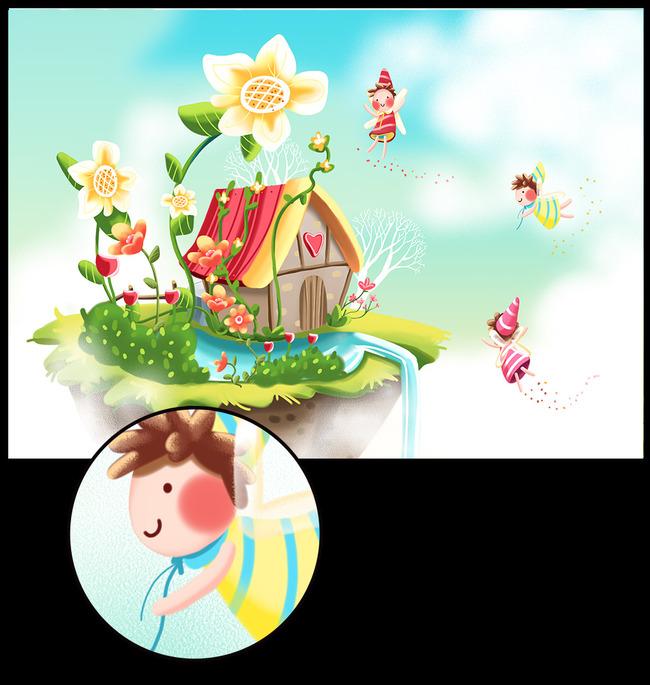 梦幻手绘卡通蜜蜂的家园卡通插画