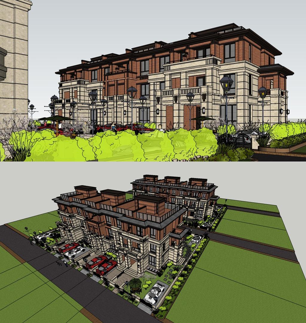 欧式联排别墅sketchup模型图片