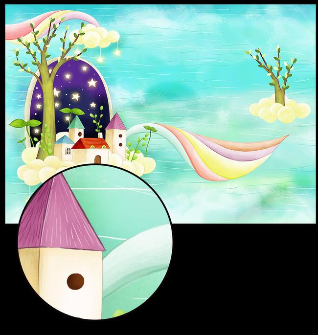 清新手绘漫画 女孩儿童 幼儿画册海报背景素材图片 蓝色树木云朵 彩虹