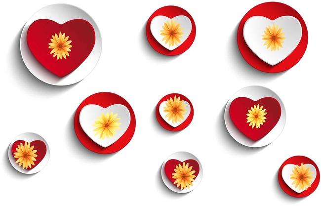 矢量3d立体爱情心形背景墙模板下载图片