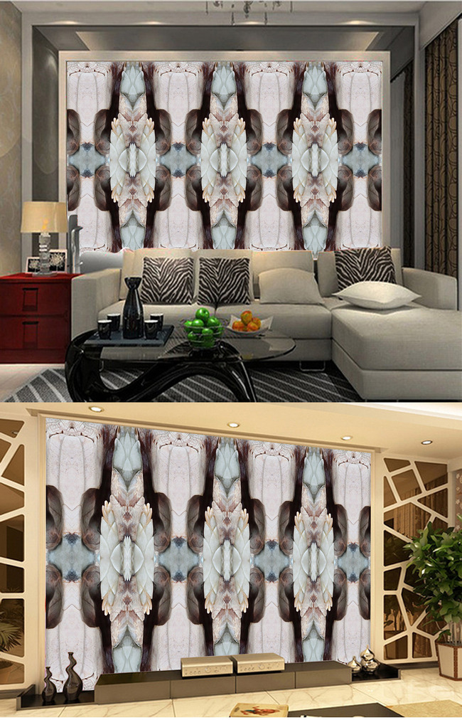 古典欧式立体柱子抽象玉雕浮雕电视背景墙