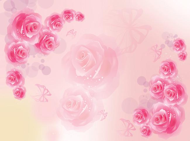 背景墙|装饰画 电视背景墙 手绘电视背景墙 > 玫瑰花浪漫粉色背景墙