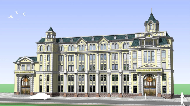 欧式建筑结构办公楼cad施工图下载图片