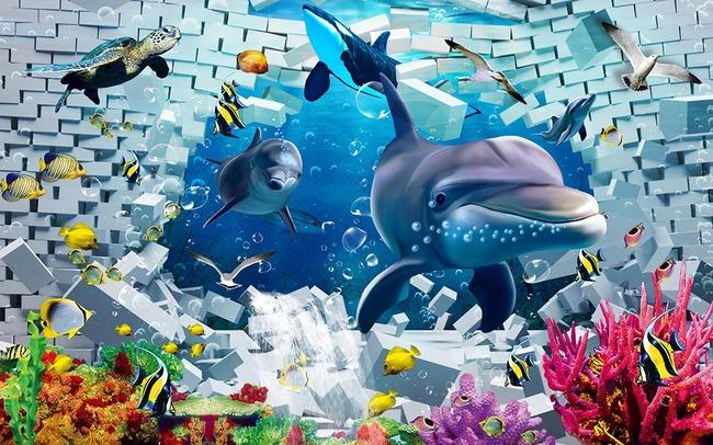 幼儿园壁画幼儿园卡通壁画之海底世界