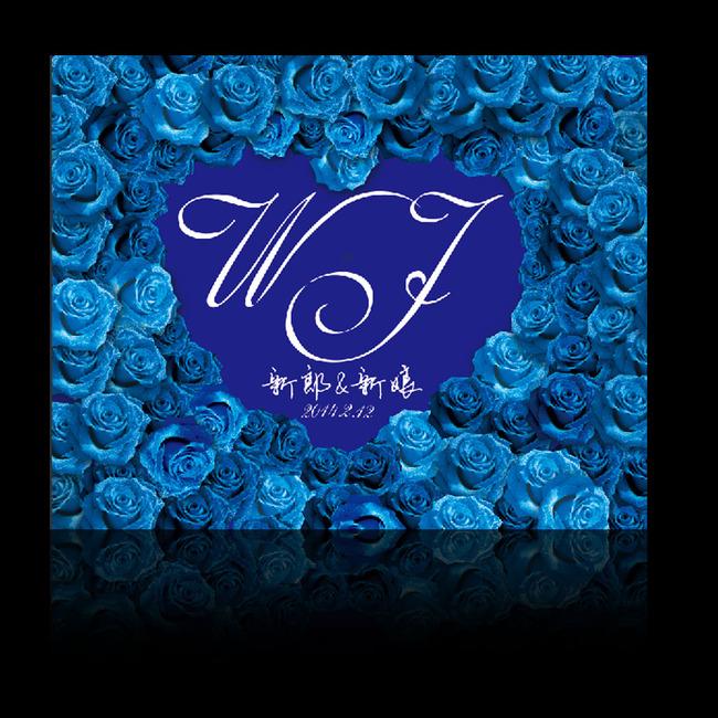 平面设计 舞台背景 婚礼场景设计 > 蓝玫瑰心形婚礼舞台背景喷绘设计