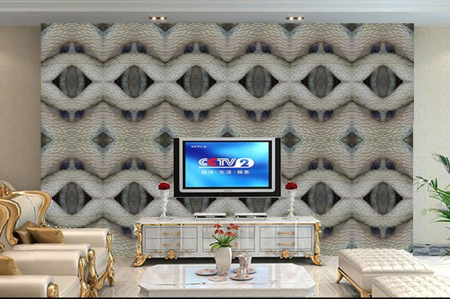 立体蛇皮雕纹理欧式玉石浮雕电视背景墙