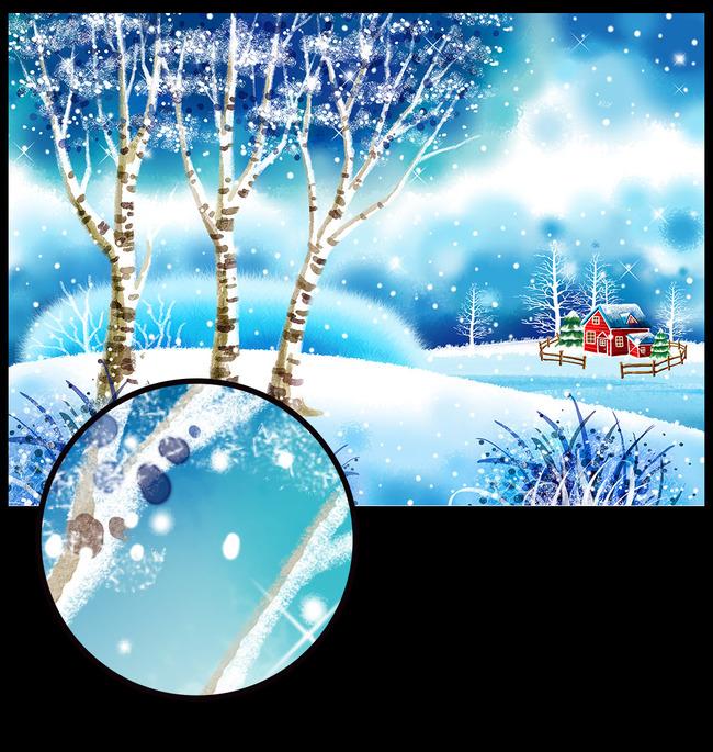 插画图片下载清新手绘漫画 树林树枝 山川蓝色下雪剪影 层峦叠嶂 夜空