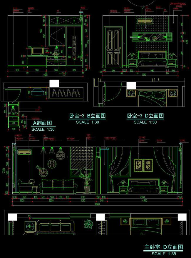 cad四层欧式别墅外立面建筑办公楼施工图