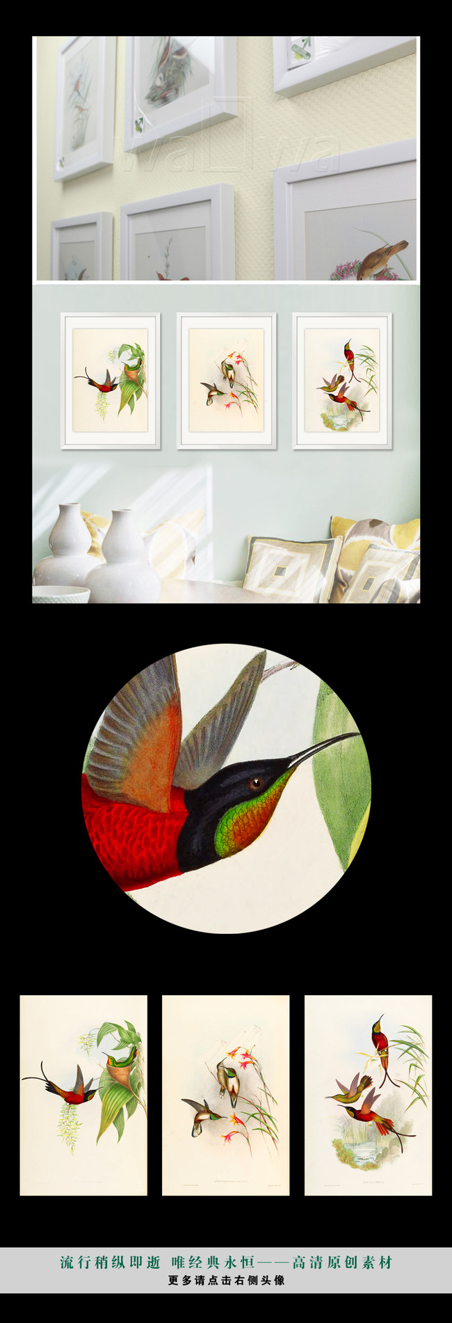 复古小清新植物花鸟装饰画图片下载高清画芯素材源文件图片 手绘复古